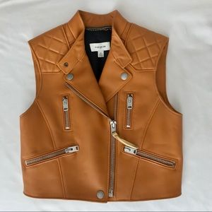 Coach 1941 Collection Leather Surf Biker Vest, XS